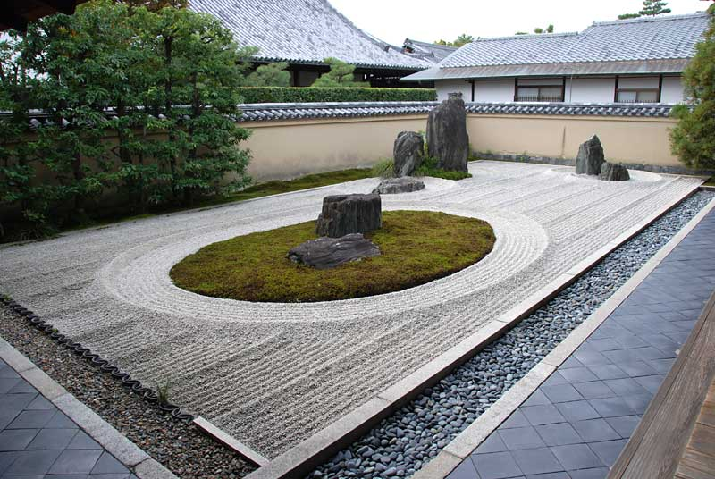 Karesansui garden called isshidan ryogen in kyoto japan for Dry garden designs